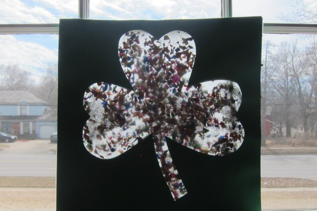 shamrock suncatcher in window