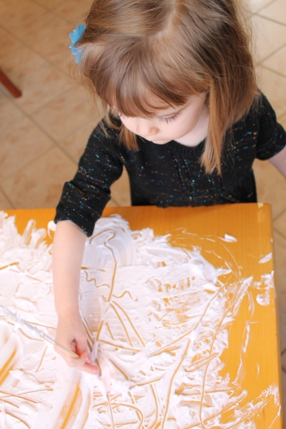 learning with shaving cream