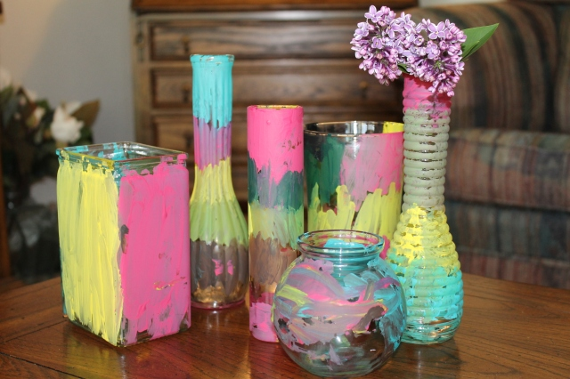 kid painted glass vases