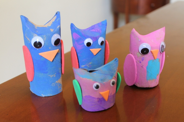 kid made cardboard owls