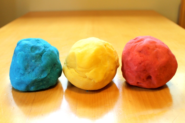 color mixing with play dough